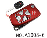 Honda 4 Button Folding Refit Remote Casing-Smooth red