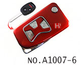 Honda 3 Button Folding Refit Remote Casing-Smooth red
