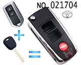 Toyota Highlander, Ashley 2 button Flip Remote Key Shell