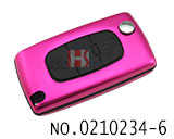 Citroen car 3 buttons folding remote aluminium alloy key cover (0523/HU83/peach)
