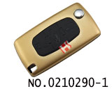 Peugeot/Citroen 3 buttons aluminium alloy folding key shell(0523/HU83/Gold)