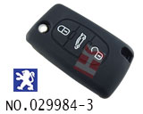 Peugeot car 3 button remote stereo tactile silicon rubber bag(black)