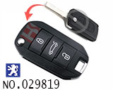 Peugeot 508 car  3-button remote control refit folding keyshell