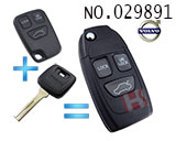 Volvo car 3-button remote control refit folding key