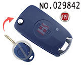 Fiat 1 Button Modified Flip Key Shell (Blue)