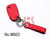 Volkswagen 3-button folding smart key case (Red)