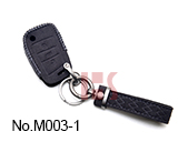 Volkswagen 3-button folding smart key case (Black)